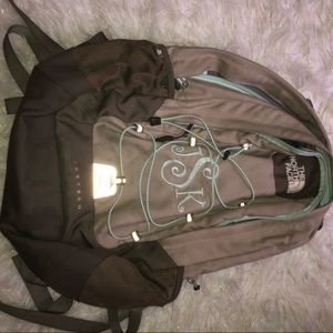 north face bookbag with JSK initials